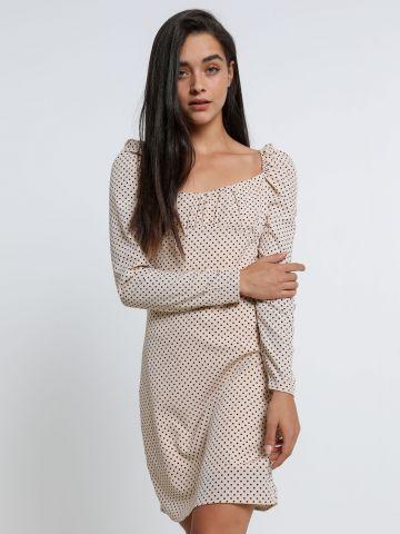 שמלת מיני בהדפס נקודות עם כתפיים נפוחות של TERMINAL X