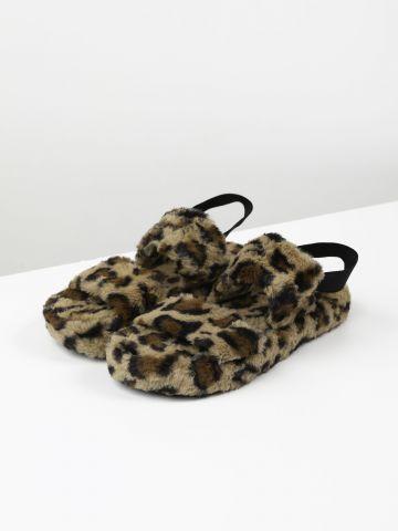 נעלי בית דמוי פרווה מנומרות / נשים של TERMINAL X