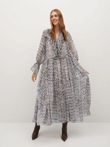 שמלת מקסי קומות עם מלמלה של MANGO