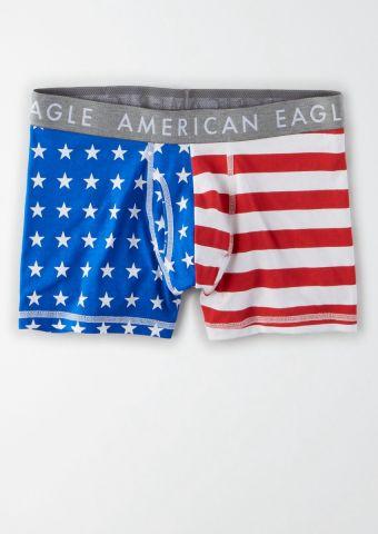 תחתוני בוקסר בהדפס דגל אמריקה / גברים של AMERICAN EAGLE