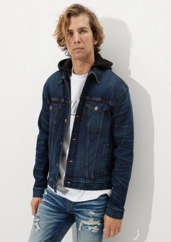 ג'קט ג'ינס עם קפוצ'ון של AMERICAN EAGLE