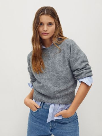 סוודר בייסיק בשילוב צמר של MANGO
