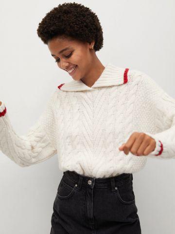 סוודר בטקסטורה קלועה עם שוליים מודגשים / נשים של MANGO