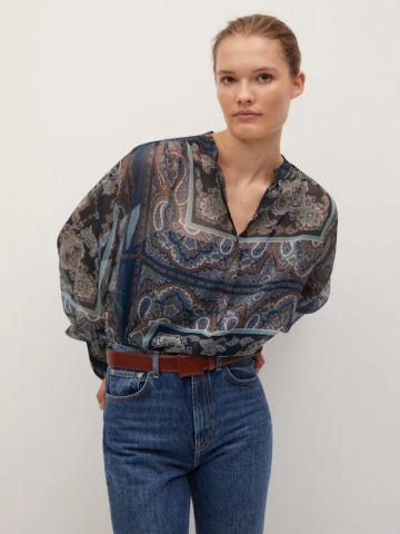 חולצה שקפקפה בהדפס פייזלי של MANGO