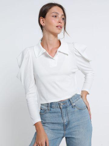 חולצת פולו קרופ עם כתפיים נפוחות של TERMINAL X