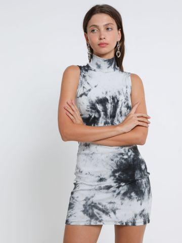 שמלת מיני טאי דאי עם צווארון גבוה של TERMINAL X