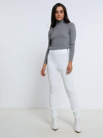 מכנסי סלים בגזרה גבוהה עם רוכסן של TERMINAL X