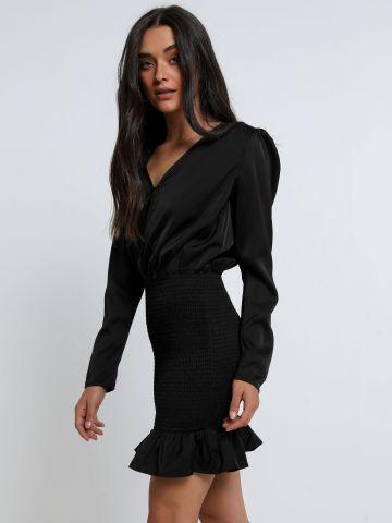 שמלת מיני סאטן עם כיווצים של TERMINAL X