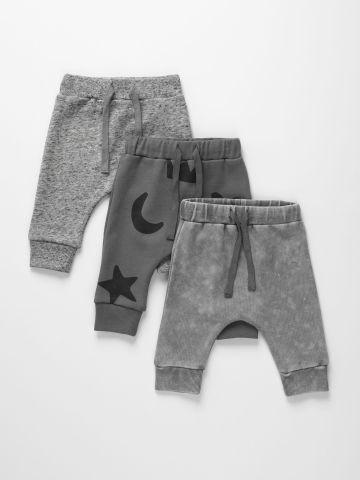 מארז 3 מכנסי טרנינג פרנץ' טרי בהדפסים שונים / 0M-6Y של TERMINAL X KIDS