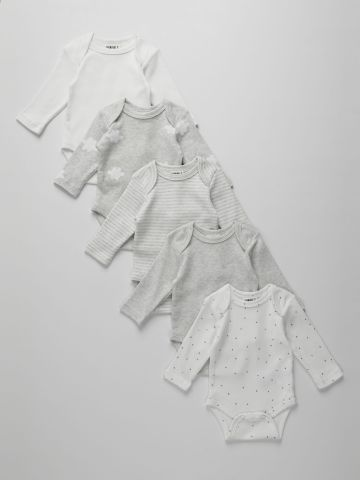 מארז 5 בגדי גוף בהדפסים שונים / 0M-2Y של TERMINAL X KIDS