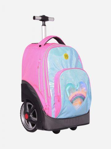 תיק על גלגלים מנוצנץ בדוגמת לב / בנות של KAL GAV