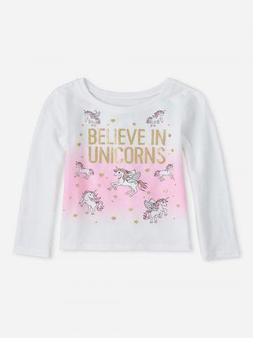 חולצה עם הדפס חד קרן בשילוב נצנצים / 9M-4Y של THE CHILDREN'S PLACE