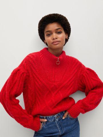 סוודר בדוגמת קליעה עם רוכסן חצי של MANGO