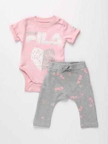 סט בגד גוף ומכנסיים בהדפס לוגו / 0-12M של FILA