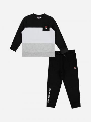 סט סווטשירט ומכנסי טרנינג פוטר עם לוגו / בנים של FILA