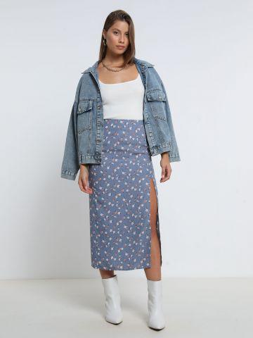 חצאית מידי בהדפס פרחים עם שסע של TERMINAL X