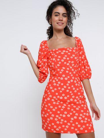 שמלת מיני בהדפס פרחים עם שרוולים נפוחים של GLAMOROUS