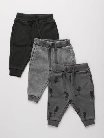 מארז 3 מכנסיים פרנץ' טרי בהדפסים שונים / ילדים של TERMINAL X KIDS