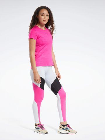 חולצת ריצה עם לוגו בשילוב רשת של REEBOK