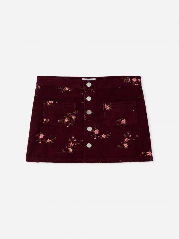 חצאית מיני קורדורוי בהדפס פרחים / בנות של THE CHILDREN'S PLACE
