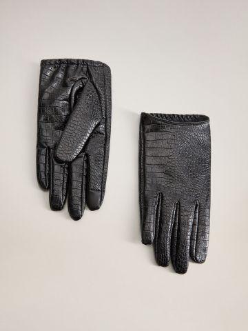כפפות דמוי עור קרוקודיל / נשים של MANGO