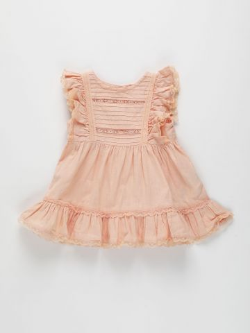 שמלה עם עיטורי מלמלה ורקמה / 3M-3Y של FOX