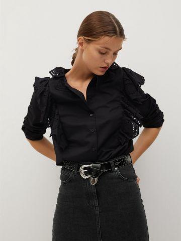 חולצה מכופתרת עם עיטורי רקמה של MANGO
