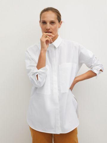 חולצת אוברסייז מכופתרת של MANGO