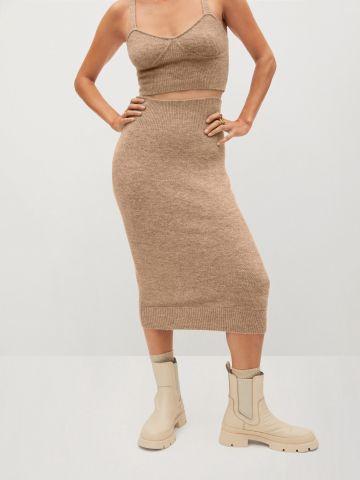 חצאית מידי עם שוליים ריב של MANGO