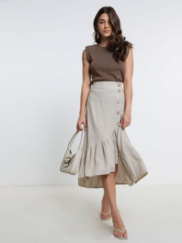 חצאית מידי עם כפתורים של YANGA