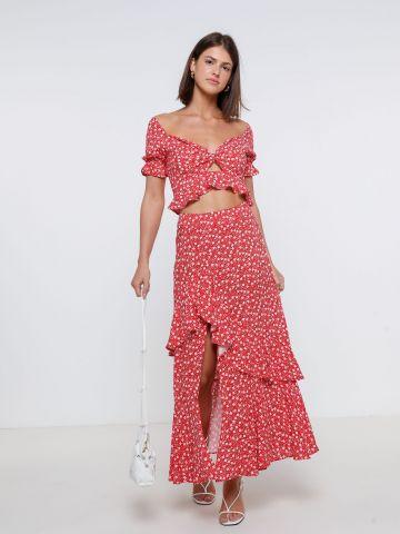 חצאית מקסי פרחים עם שסע של YANGA