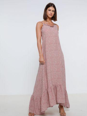 שמלת מקסי פרחים אסימטרית של YANGA