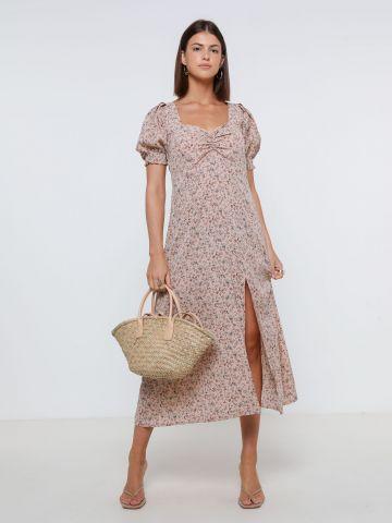 שמלת מקסי פרחים עם שסע של YANGA