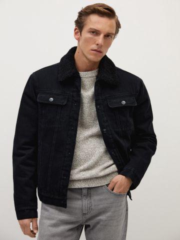 ג'קט ג'ינס עם צווארון דמוי פרווה של MANGO