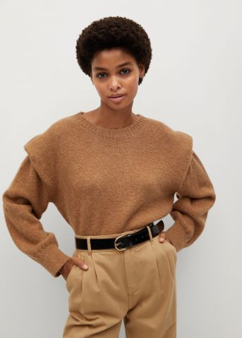 סוודר בשילוב צמר עם כריות כתפיים של MANGO