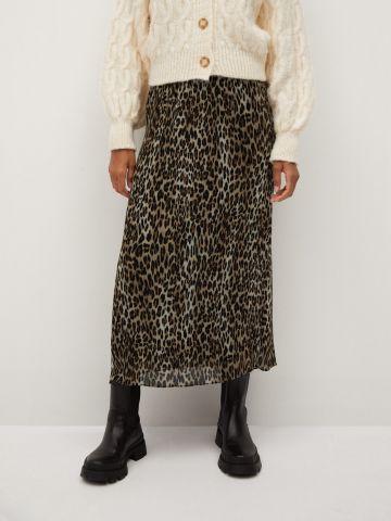 חצאית מקסי פליסה מנומר של MANGO