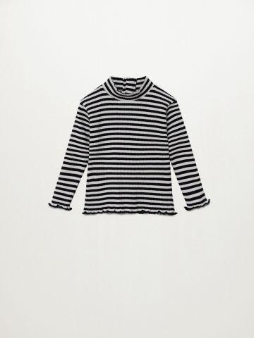 חולצת ריב בהדפס פסים / 9M-4Y של MANGO