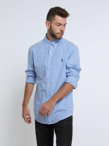 חולצה מכופתרת בהדפס משבצות עם לוגו Slim של RALPH LAUREN