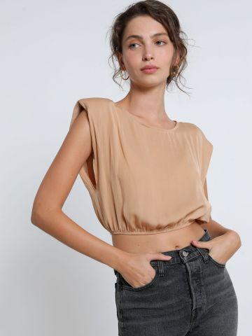 חולצת סאטן קרופ עם כריות כתפיים של TERMINAL X