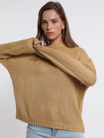 סוודר אוברסייז בסריגת צמות של TERMINAL X