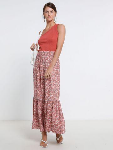 חצאית מקסי פפלום בהדפס פרחים של YANGA