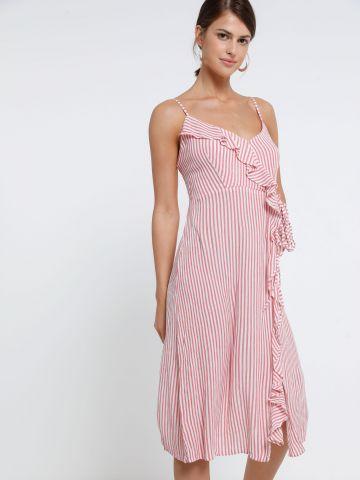 שמלת מידי בהדפס פסים עם מלמלה של YANGA