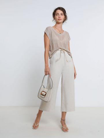 מכנסי קרופ רחבים עם חבל קשירה של YANGA