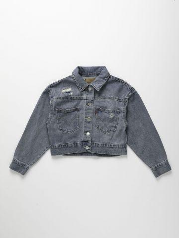 ג'קט ג'ינס קרופ עם כיסים / בנות של LEVIS