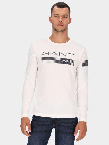 טי שירט שרוולים ארוכים עם לוגו של GANT