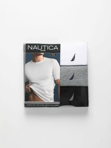 מארז 3 טי שירטים עם לוגו / גברים של NAUTICA