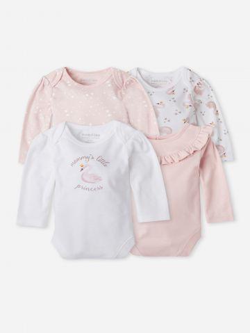 מארז 4 בגדי גוף בהדפסים / 0-24M של THE CHILDREN'S PLACE