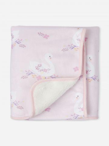 שמיכה פרוותית בהדפס ברבורים / בייבי בנות של THE CHILDREN'S PLACE
