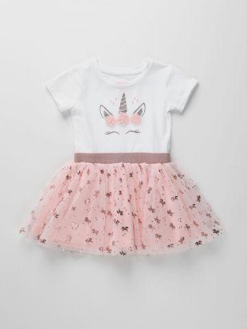 שמלה עם חצאית טול והדפס חד קרן מנצנץ / 6M-5Y של THE CHILDREN'S PLACE