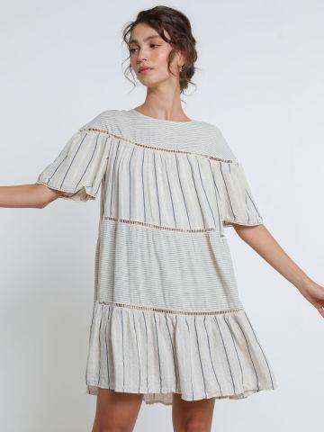 שמלת מיני קומות בהדפס פסים של YANGA